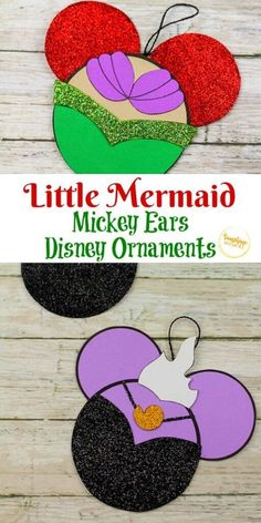 Try out this Little Mermaid Mickey Ears Disney Ornament Craft from Sunshine Whispers! This ornament craft is perfect for little Disney-lovers. Your kids will love hanging this creative ornament on the Christmas tree! | Disney Crafts for Kids #christmas #ornament #christmasornament #diyornaments #disneycrafts #disney
