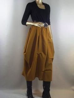 Wool poly,mustard yellow skirt, Lagenlook  for the tall and slim or for the super confident.