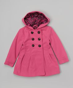 Look at this Urban Republic Pink Double-Breasted Hooded Coat - Infant & Girls on #zulily today!