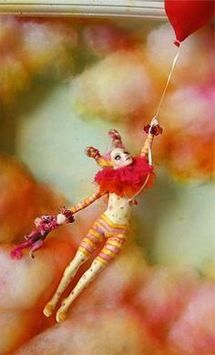 COME FLY WITH ME - A circus girl, her monkey and a balloon   ooak by Nicole West