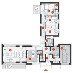 DOM.PL™ - Projekt domu DZW Familijny 1 CE - DOM DW2-10 - gotowy koszt budowy Modern Bungalow House, Modern House Design, Apartment Floor Plans, House Floor Plans, Villa Plan, Farmhouse Renovation, Cottage Exterior, Large Homes, Architecture Plan