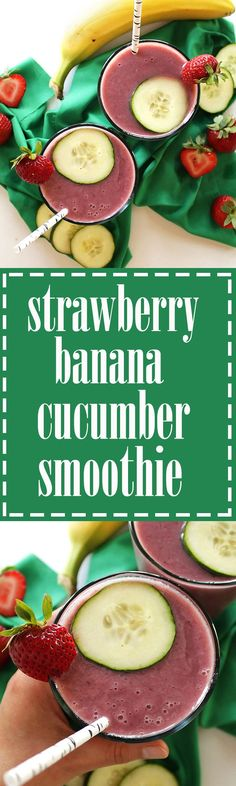 Strawberry Banana Cucumber Smoothie - Plenty of sweet strawberry and banana with a little cucumber thrown in for a refreshing twist. This recipe is EASY to make, only requires 4 ingredients! Healthy, hydrating, delicious, and perfect for summer! Vegan/gluten free.