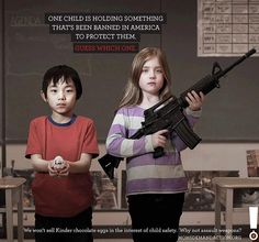 One child is holding something that's been banned in America to protect them.