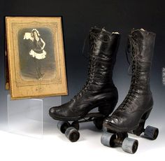How cool are these Victorian high-top roller skates? Research tells me that these particular leather skates were part of a 2009 auction by Burchard Galler Victorian Shoes, Victorian Era, Victorian Fashion, Vintage Fashion, Charles Frederick Worth, Roller Disco, Men S Shoes, Running Shoes For Men, Rollers