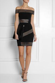 Christopher Kane|Bardot elastic-paneled stretch-jersey mini dress|NET-A-PORTER.COM