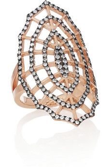 Diane Kordas Spider Web 18-karat rose gold, rhodium-plated diamond ring   NET-A-PORTER
