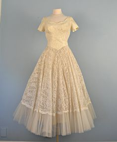 Vintage 1950s Wedding DressBeautiful Ivory Ankle Length by deomas, $425.00    Oh, this peeps Chloe to me!