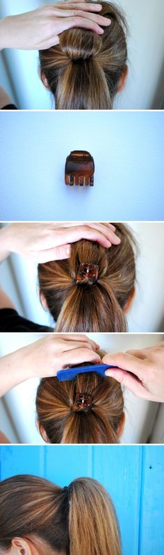 Easy, So-Pretty Hairstyles You Can Do in Under 5 Minutes: Here are our favorite fast hairstyles for short hair, long hair, and everything in between. Fast & Easy Hairstyle For When You're Running Late 5 Minute Hairstyles, Fast Hairstyles, Pretty Hairstyles, Hairstyle Short, Medium Hair Styles, Curly Hair Styles, Head Braid, Loose Ponytail, Fuller Ponytail