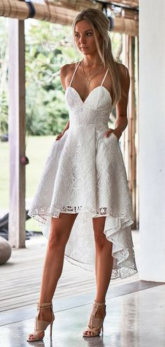 Prom Dresses White, Homecoming Dresses A-Line, Prom Dresses Lace, Homecoming Dresses High Low, White Lace Prom Dresses Homecoming Dresses 2018 White Homecoming Dresses, Prom Dresses With Pockets, High Low Prom Dresses, Lace Party Dresses, Backless Prom Dresses, Hoco Dresses, Sexy Dresses, Graduation Dresses, Dress Lace