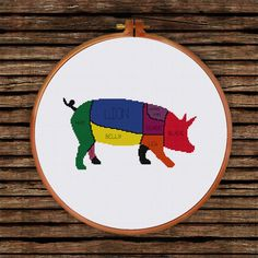 Animal butcher diagram cross stitch pattern modern by ThuHaDesign
