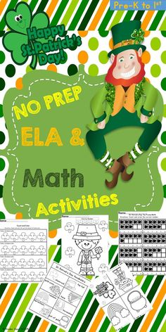 "St. Patrick's Day Themed Math/Literacy Activities is a packet of 15 pages with a focus on math and literacy skills. Common Core State Standards (CCSS) for the K and 1st. Included in this packet are: -St. Patrick's Day Vocabulary Sheet  -Journal Sheets -""I see…"" mini book  -Word Search  -Color by Number Color Sheets   Vocabulary Picture and Word Match  -Ten Frame Shamrock Count  - Patterns  -Color Review  -Counting  -Same/Different  -Graphing"