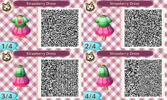 #Strawberry dress #qr code #animalcrossing #acnl #3ds