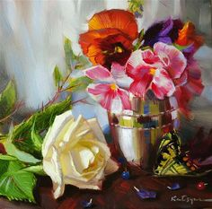 "Daily Paintworks - ""November Flowers"" by Elena Katsyura"