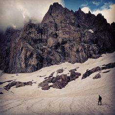 Two great days on Aiguille de Sialouze in the Ecrins with Peter. Unfortunately the route we had in mind goes up that big black streak which is currently running with water but we had fun on other routes instead. Very nice to be in the mountains but the back isn't  happy after the big rucksack and long walk in. #Padgram