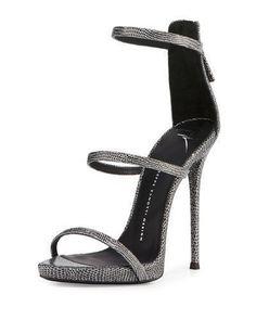 S0F8U Giuseppe Zanotti Embossed Leather Three-Strap Sandal, Black/Silver