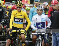 Chris Froome of Great Britain and Team Sky and Nairo Quintana of Colombia and Movistar Team get ready for stage twenty one of the 2015 Tour de France, a 109.5 km stage from Sevres to the Champs Elysees Avenue in Paris on July 26, 2015 in Paris, France. #TDF2015 #rm_112
