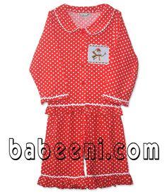 baby dresses - red pajamas smocked-pajamas