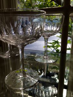 6ceddbc203cf Two Victorian champagne saucers with lozenge cut decoration to bowls.  Perfect for a  couplegift