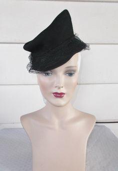 30's 40's Vintage Black Felt Tilt Hat New York by MyVintageHatShop