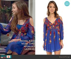 Riley's blue floral cold shoulder dress on Girl Meets World.  Outfit Details: http://wornontv.net/52936/ #GirlMeetsWorld Buy it at 6pm: http://wornon.tv/35959