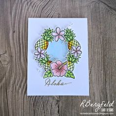RBergfeld Card Designs: Pineapple Wreath - Sunny Studio Stamps, Tropical Paradise