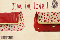 Valentines Day. Fold over clutch. One side red color and on the other side red hearts. Clutch bag. Purse. Kiss lock wallet. SALE! Upstream