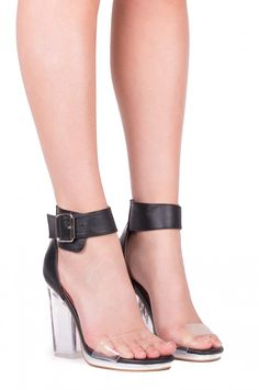 Jeffrey Campbell Shoes SOIREE The Vault in Black Silver Clear