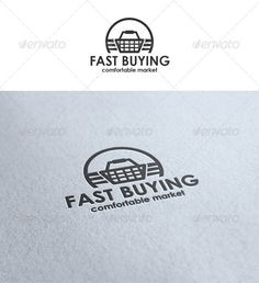 Fast Buying Logo Template – Time to shopping. Run on shops. Concept. Suitable for shops, markets, supermarkets, e-market, e-shops, stores different use.