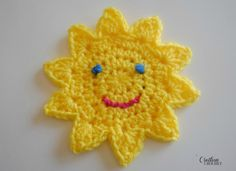 Sun Applique /This is used as part of a Lovey blanket. She makes 2 and then crochets them together and stuffs it. The one piece alone is a great appliqué though. Scroll to the bottom of the blog page for free pattern.
