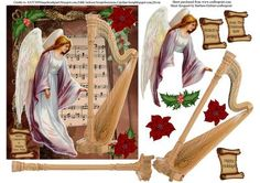 Christmas Angel Harp Card Topper Decoupage on Craftsuprint - Add To Basket!