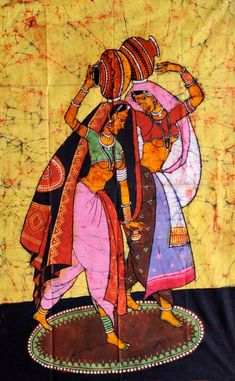 Rural Ladies with Water Pitchers, Batik Batik Painting On Cotton India Painting, Mural Painting, Fabric Painting, Figure Painting, Indian Women Painting, Indian Art Paintings, Batik Art, Batik Prints, Rajasthani Painting