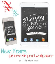 ring in the new year on your iphone, ipad or computer with a chalkboard wallpaper at TidyMom.net