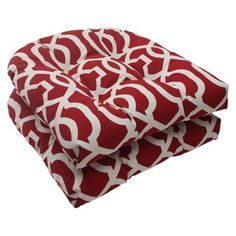 Outdoor 2-Piece Wicker Seat Cushion Set - Red/White Geometric
