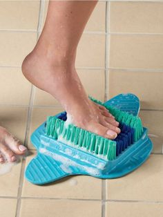 No more bending or standing dangerously on one foot. Large brush suctions to the shower floor or tub wall, making it safe and easy to scrub your feet. Ear Wax Buildup, Foot Brush, Sensory Rooms, Sensory Activities, Homemade 3d Printer, Try Your Best, Elderly Care, Gross Motor Skills, Shower Floor