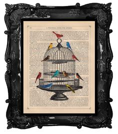 Bird cage print on antique dictionary page by BlackBaroque on Etsy, $10.00