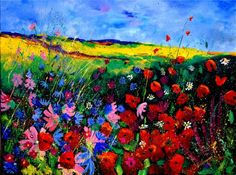 "Saatchi Art Artist Pol Ledent; Painting, ""field flowers 68"" #art"