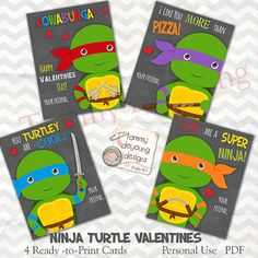 Ninja Turtle Valentines Cards for Kids with by songinmyheart
