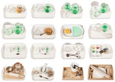 Create my own Montessori Practical Life trays: Simple Dry Pouring, Simple Wet Pouring, Large to Small Pouring, Pouring through a Funnel, Pouring to Measure, Simple Transferring, Sponge Transferring, Baster Transferring, Pipette Transferring, Syringe Transferring, Ball Transferring, Learning Chopsticks, Rolling Dough, Pestle and Mortar, Coffee Grinding, Laying the Table