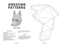 Make your own Wolf Mask Animal Mask Instant Pdf by AwesomePatterns Cardboard Mask, Cardboard Paper, Paper Toys, Diy Paper, Animal Mask Templates, 3d Templates, Paper Head, Disfarces Halloween, Wolf Maske