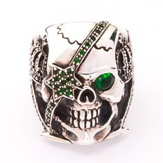 "Emerald green crown pirate skull sterling silver biker ring ~new highest quality 100% solid sterling silver, heavy & thick (not plated), stamp .925 trademark inside the band. first class sterling silver jewelry, nicely polished. this is solid sterling silver weight : 32 grams. skull face measure : 7/8"" x 1 2/8"""