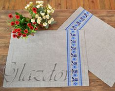 Linen Placemats Hand Embroidery Set 6 Natural Linen Fabric