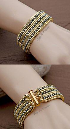 Beaded Bracelet Yellow Gold Hand Woven Cuff Bracelet Silver & Gold Seed Bead Jewelry Swarovski Crystals Bracelet For Women Beautiful Design! by LindyLeeTreasures on Etsy https://www.etsy.com/listing/509913716/beaded-bracelet-yellow-gold-hand-woven
