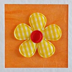 Blank Card, sister, daughter, girlfriend, for her, wife, mum, friend, yellow gingham flower, orange, modern, recycled envelope, cute, bright - pinned by pin4etsy.com