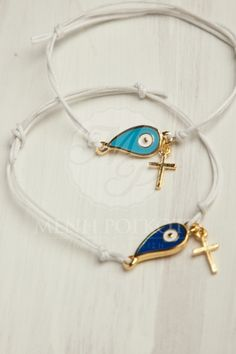 Stylish witness bracelet - martyrika with mati and cross Evil Eye Jewelry, Evil Eye Bracelet, Baby Baptism, Baptism Ideas, Baptismal Souvenir, Church Icon, Doll House Crafts, Christening Outfit, Greek Jewelry