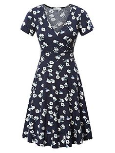 Buy Women's Deep V Neck Short Sleeve Unique Cross Wrap Casual Flared Midi Dress - - Shop the latest collection of Women's Dresses enjoy big discount and fast shipping. Elegant Prom Dresses, Fall Dresses, Pretty Dresses, Casual Dresses, Ladies Dresses, Sundresses Women, Fall Skirts, Casual Outfits, Summer Dresses
