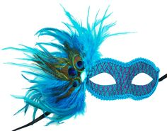Masquerade Glittered Feather Eye Mask Aqua