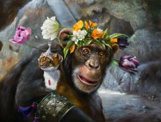 Painting kangaroo by Wim Bals. An artwork with a kangaroo and others animals in an old bed. Creation Photo, Animation, Monkey Business, Les Oeuvres, Flower Art, Flower Power, Fantasy Art, Creations, Canvas