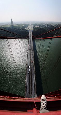 Ponte 25 de Abril, Lisbon. It is a suspension bridge which is often compared to Golden gate Bridge in San Francisco.