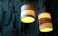 Modern Home Interior Lighting Design Funk Lamps by Dreizehngrad - from wood veneer