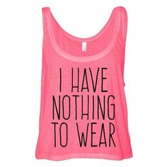 Neon Pink Cropped Tank Top I Have Nothing to Wear Funny Summer Outfit ❤ liked on Polyvore featuring tops, crop tank, neon pink tank, summer tanks, crop tank top and neon pink tank top